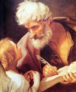 Pictured: St. Matthew, totally evangelizing.